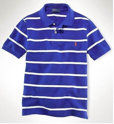 Ralph Lauren Men\u0027s Custom-Fit Striped Short Sleeve Polo Shirt Royal Blue /  White http