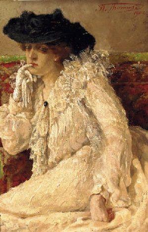 A woman in a white dress in pensive mood by Henri Joseph Thomas