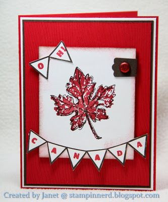 Cute Canada Day card by Janet. She used Gently Falling, Woodgrain, and the Designer Typeset Photopolymer.