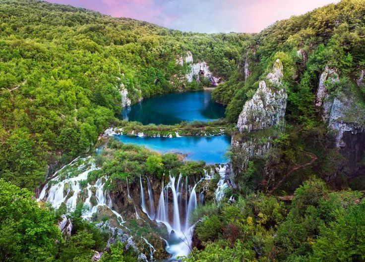3. The large waterfall. Plitvice stream water descends through the rocks, forming a 255 feet high (78 m) amphitheater of the Great falls — the highest waterfall in Croatia