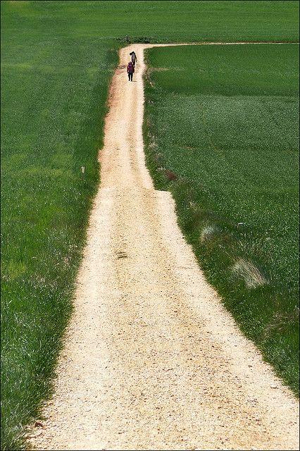 El Camino de Santiago del Campostano.  The Way of St. James, an ancient pilgrimage route in Spain.