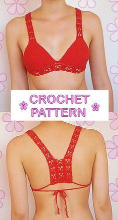 Crochet pattern bikini top with thick lacy straps by AkariCrochetPatterns:
