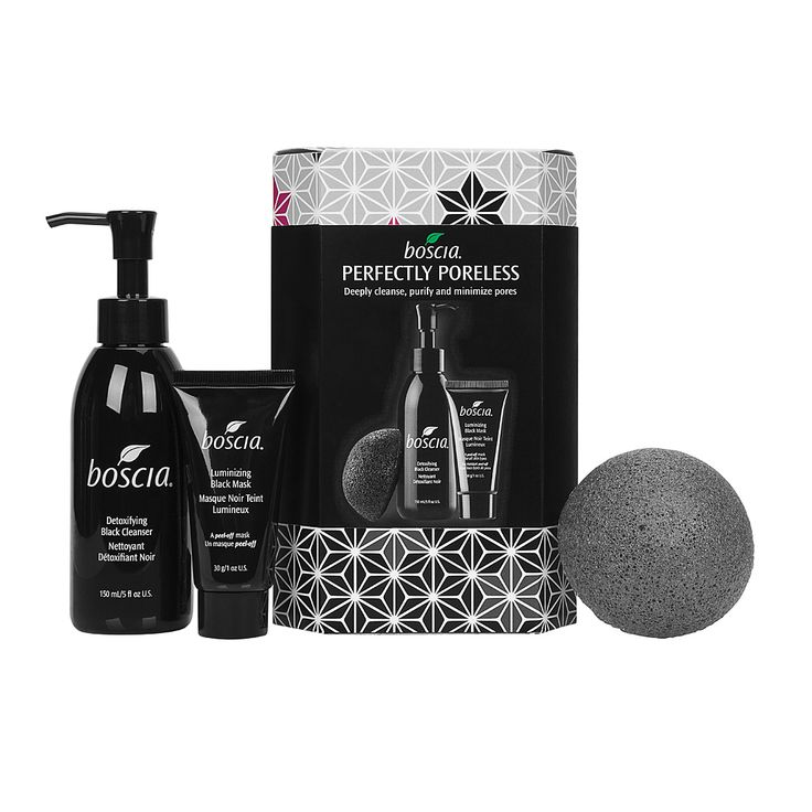 $39.00 boscia | Perfectly Poreless. includes a full-size 150 mL Detoxifying Black Cleanser, full-size of our Konjac Cleansing Sponge with Bamboo Charcoal and 30g Luminizing Black Mask