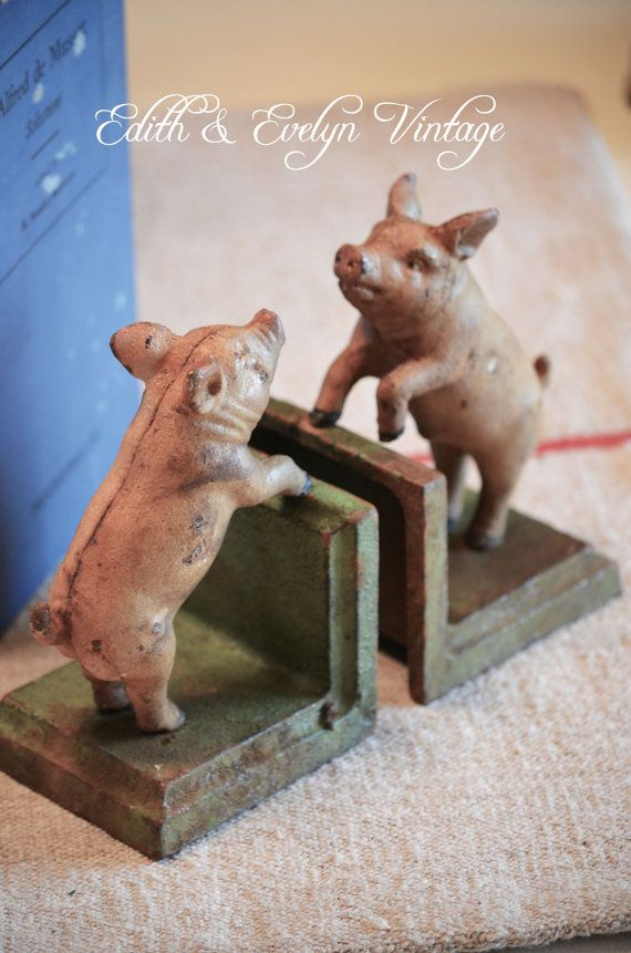 Vintage Cast Iron Pig Bookends by edithandevelyn on Etsy