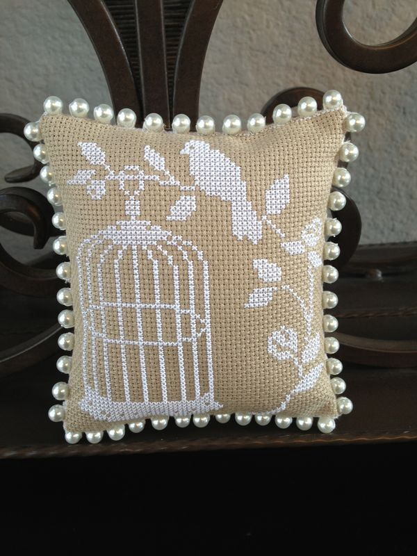 Whitework bird n cage cross stitch pin cushion