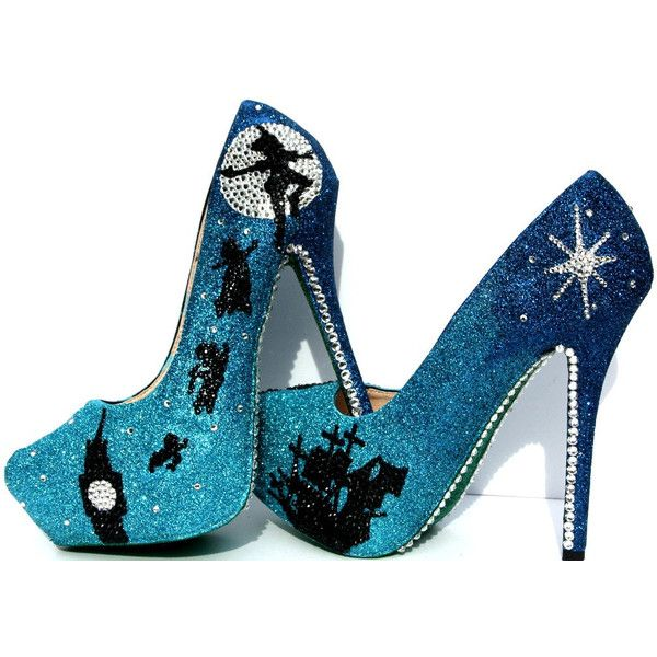 Peter Pan Wedding Heels With Swarovski Crystals on Blue Glitter... ($175) ❤ liked on Polyvore featuring shoes, pumps, pointed pumps, pointy shoes, swarovski crystal pumps, polish shoes and platform shoes