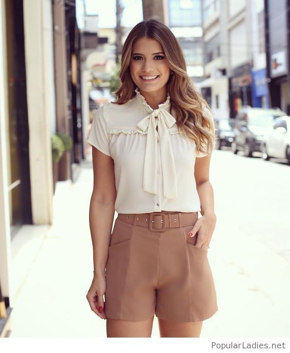 Nude shorts and white shirt