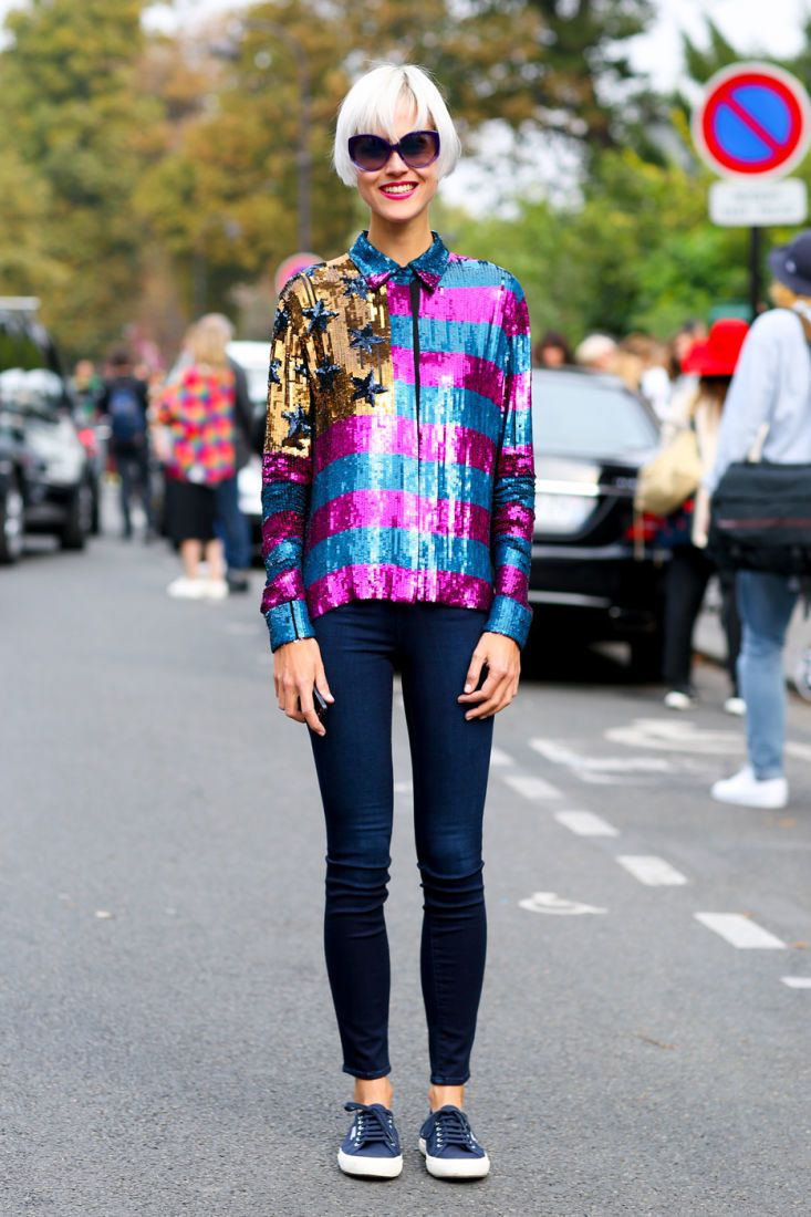 sequined street style