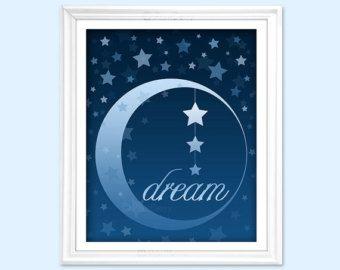 Estrellas y Luna Rosa botón arte vivero por PaintedWithButtons