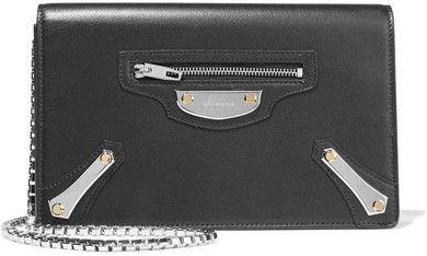 Balenciaga - Metal Plate Leather Shoulder Bag - Black