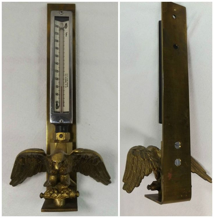 VTG Detroit THERMOMETER Brass Eagle Industrial Decor Temp Gauge Steampunk