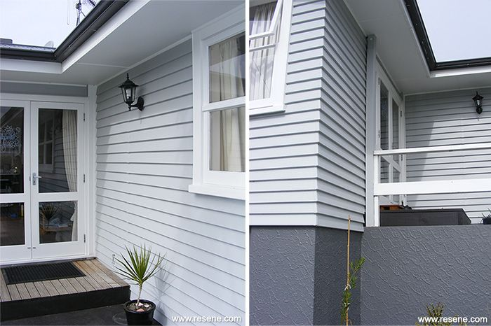 Update exterior colour scheme featuring Resene Silver Chalice weatherboards, Resene Black White on trims & joinery, Resene Nocturnal on roof, & Resene Ship Grey on basement.