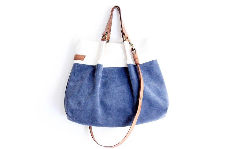 Borsa Tote, borsa a mano, borsa tracolla, borsa in pelle scamosciata, canvas e cuoio italiano. Emma bag di Genuinemyself su Etsy