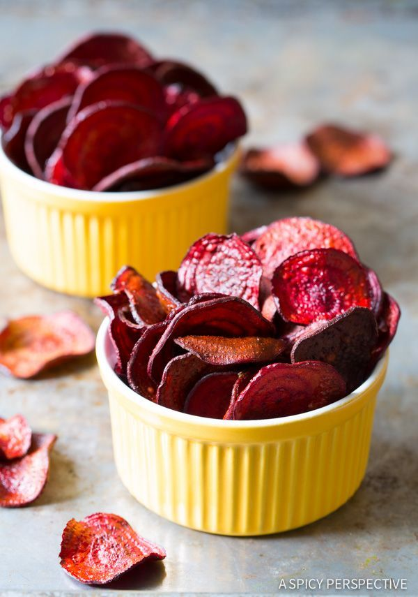 The absolute best Oven Baked Beet Chips Recipe you'll ever try. We share a baked veggie chips secret that makes this recipe crispy and flavorful! You won't