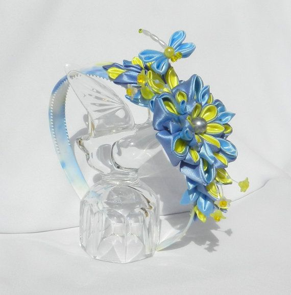 Tsumami Kanzashi headband For Cinderella by LazuritLouise on Etsy
