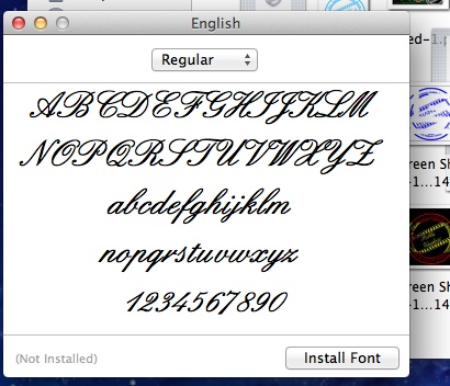 This is the font 'English' that I decided to use for my stamp. I chose this font because it is calligraphic and it gives the stamp a professional feel.