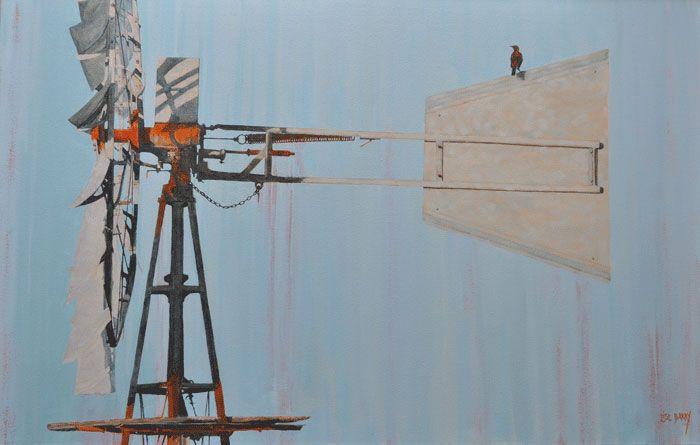 Windpomp    (oil on canvas, 700X1100X25mm)  by Lisl Barry   www.lislbarry.co.za  Little Karoo wind pomp