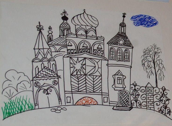 """Открытка """"Сказочный городок"""". Автор Андреева О.А. Бумага, гуашь."""