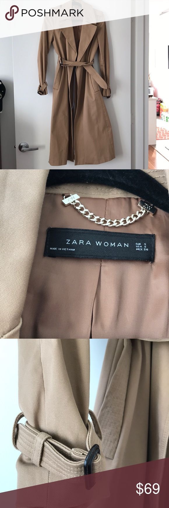 """Zara long camel trench coat Gorgeous (worn once!) camel trench coat. I am 5'4"""" and length drops to about lower calf area.  Size small Wrist adjustable strap detailing  Belt  Can be worn open or tied I'm pregnant so I'm selling because it no longer fits  Slightly narrow in shoulders, as I find most Zara clothes run narrow.  Classic color and shape that will never go out of style Zara Jackets & Coats Trench Coats"""