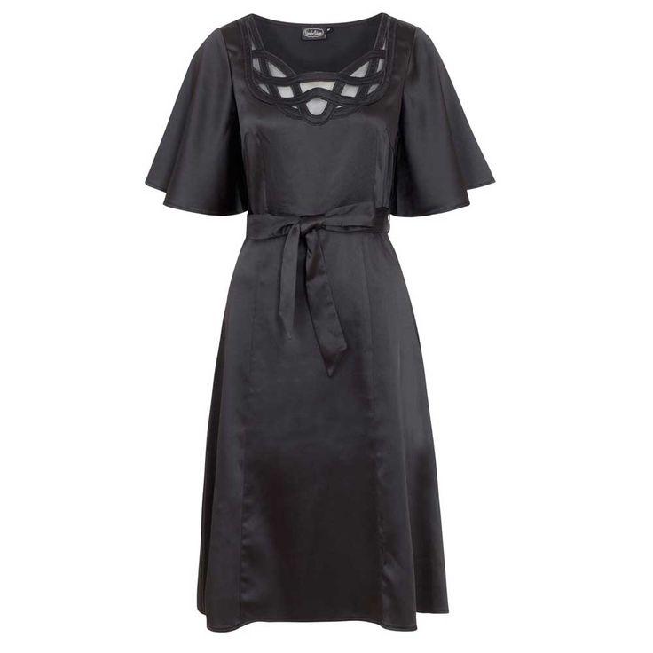 Voodoo Vixen Ellie satijnen jurk met wijde mouwen en strik ceintuur zw