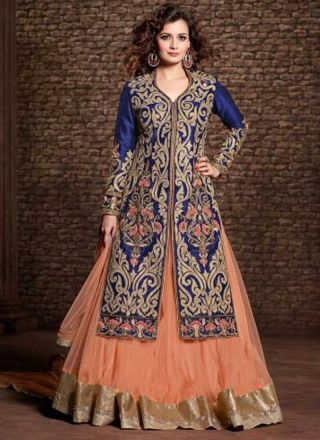 Delightful Blue And Orange Silk Top With Embroidery Work Lehenga Choli http://www.angelnx.com/