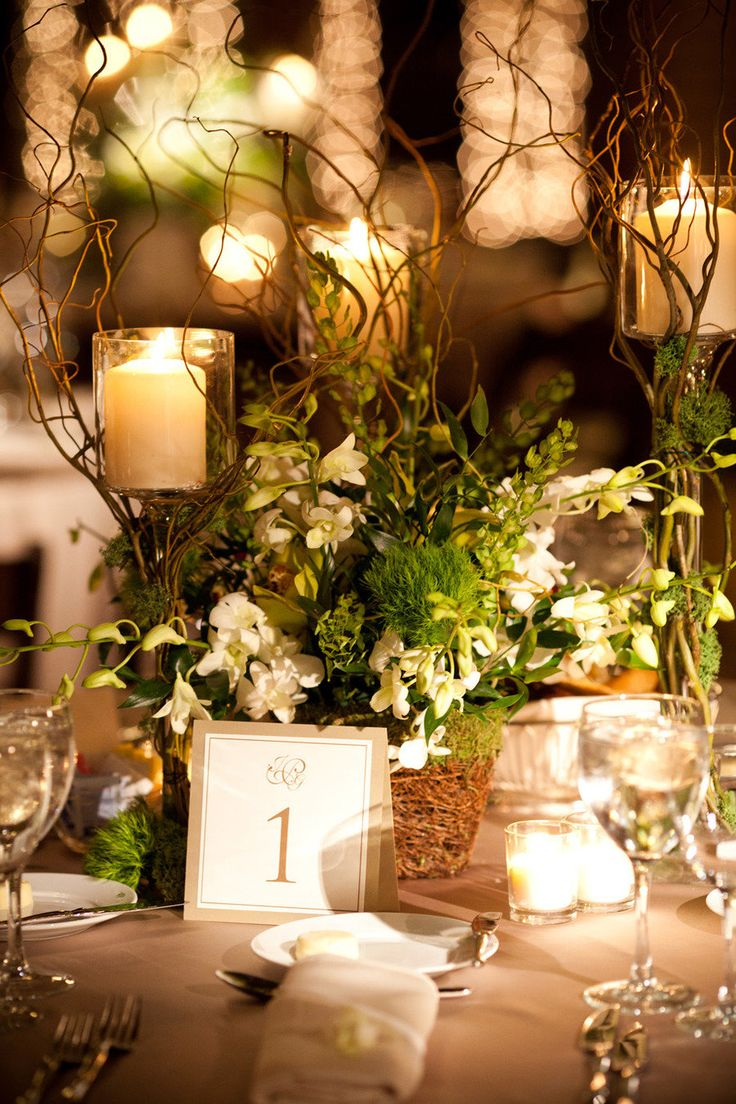 Beautiful. Romantic garden wedding using branches, candles & flowers.