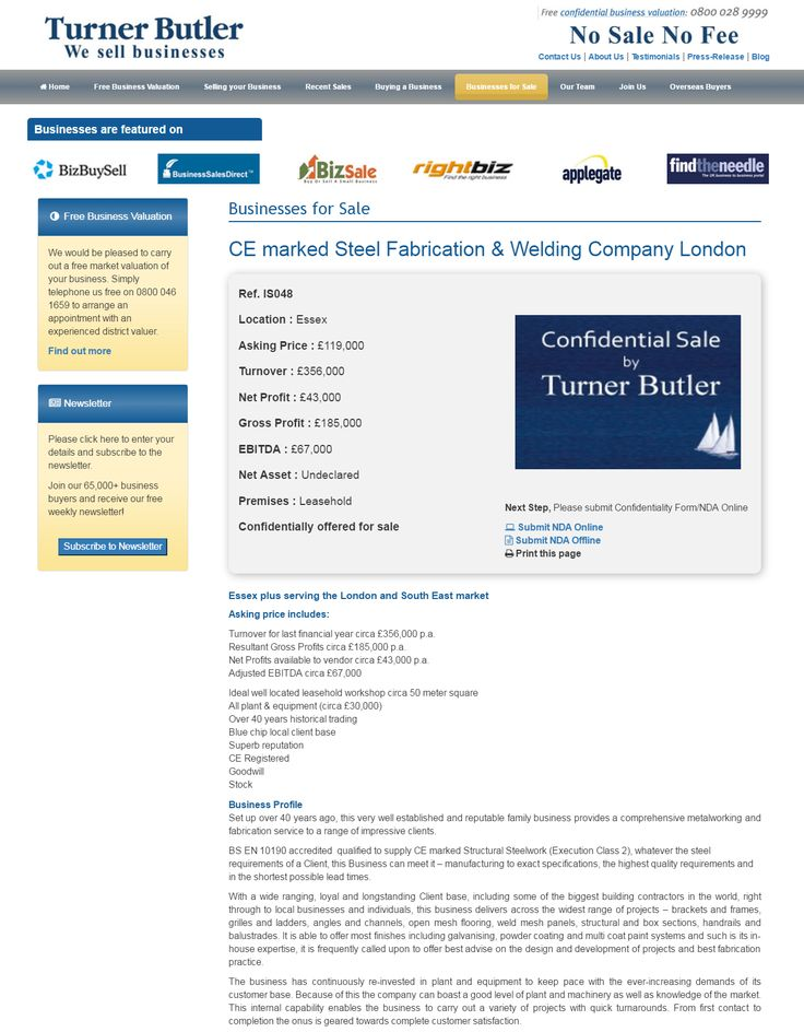 Business for sale CE marked Steel Fabrication & Welding Company London Ref. IS048 Location Essex Asking Price £119,000 RupertCattell TurnerButler we sell business Rupert Cattell Business for sale Turner Butler Testimonial Successful Business Broker Selling your business wesellbusiness #turnerbutler #businessdetailsupdated #steelfabrication #weldingcompany #Essex #sellingabusiness #businessesforsale #businesssales #sellingabusiness #UKbusinessbrokers #wesellbusinesses #buyingabusiness