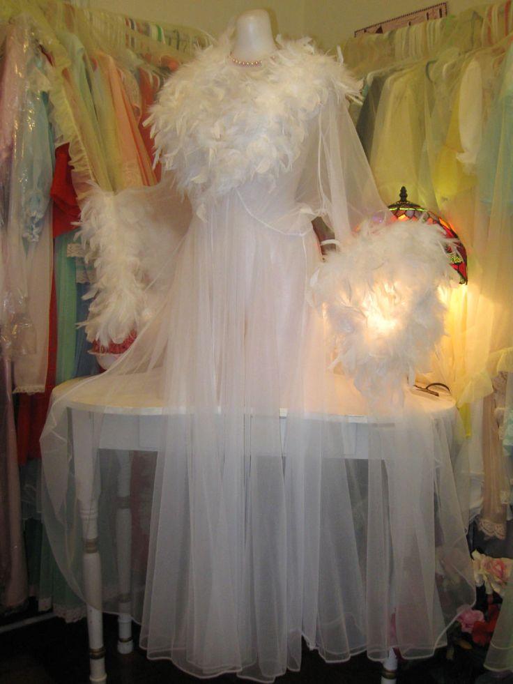 Chiffon Vtg Style Dressing Gown Peignoir Feather Marabou