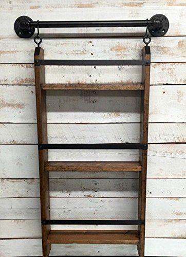 Amazon.com: Bathroom ladder shelf, rustic bathroom shelf, industrial shelf, farmhouse shelf, cottage chic, home décor, shelf w/pipe towel bar: Handmade