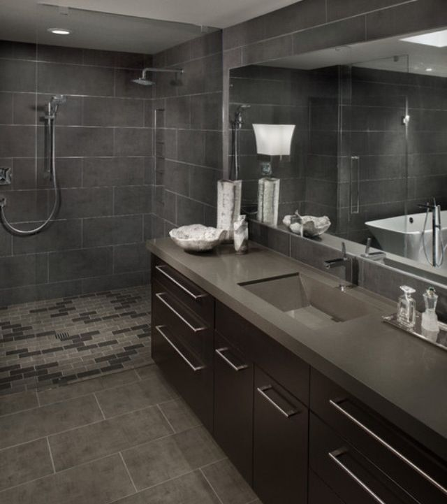 Brown Vanity With Grey Tile Home Projects Pinterest