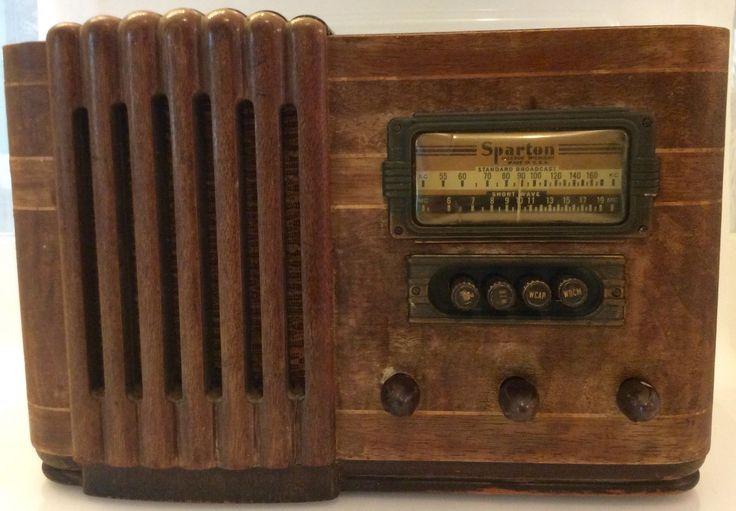 Vintage 1940s Sparton Tube Radio Waterfall Style Tabletop Wood Veneer For Repair | eBay