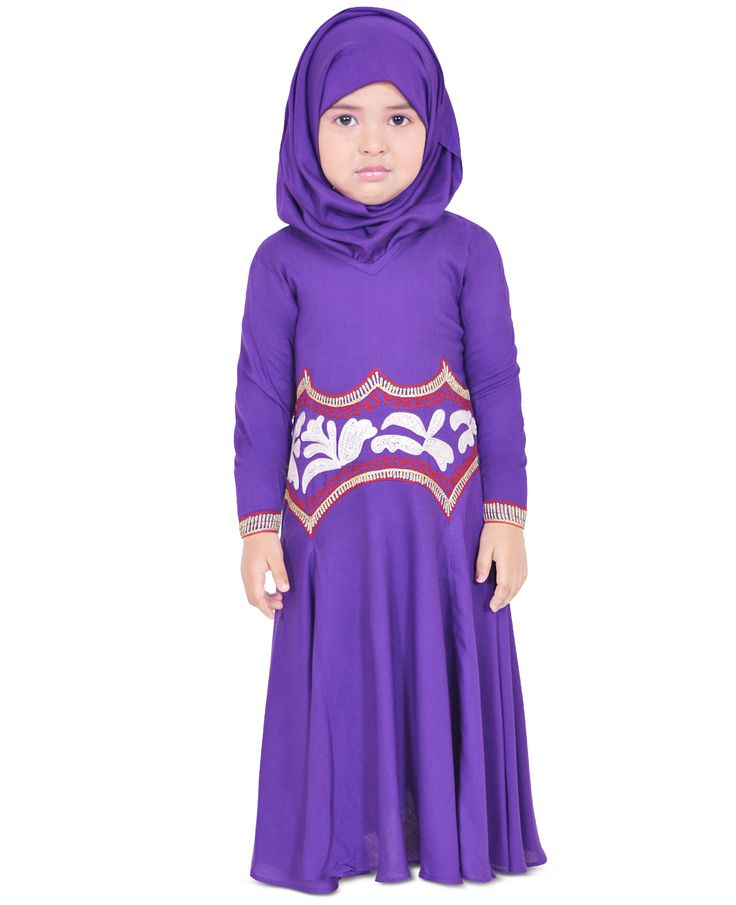 Designed With Attractive Embroidery That Highlights Its Visual Allure, This Purple Kid's Abaya From Zet Zone Makes For A Wonderful Pick For Your Little Daughter. Tailored From Soft Rayon Fabric For Plush Day-Long Comfort, This Dress Is Best Flaunted With Pretty Belly Shoes.