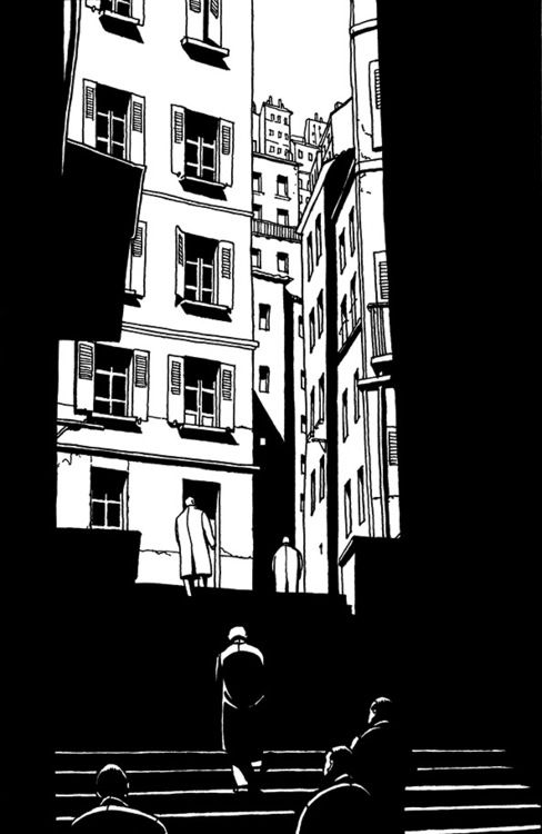 From Marc-Antoine Mathieu's Le Cœur des Ombres. Not only a master of light and shadow, but of the form of comics and the seemingly (in his hands) endless possibilities. Please let me know of any other...