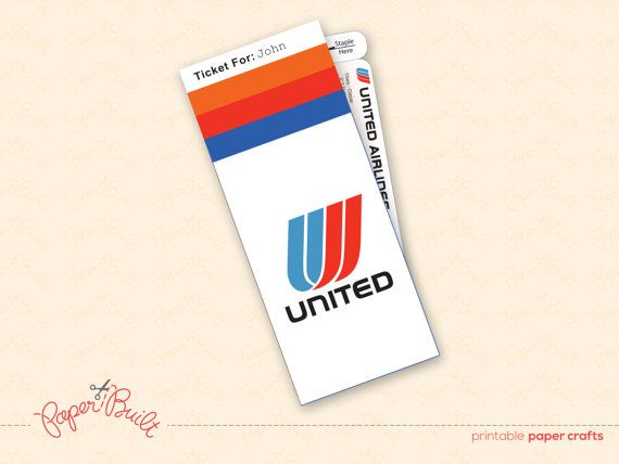 Printable United Airlines Style Ticket Jacket Gift/ Gift Card (Customized) by Paper Built