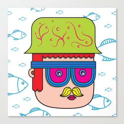 Comic face on the flying fish background Stretched Canvas by Dmitri Kruglikov - $85.00
