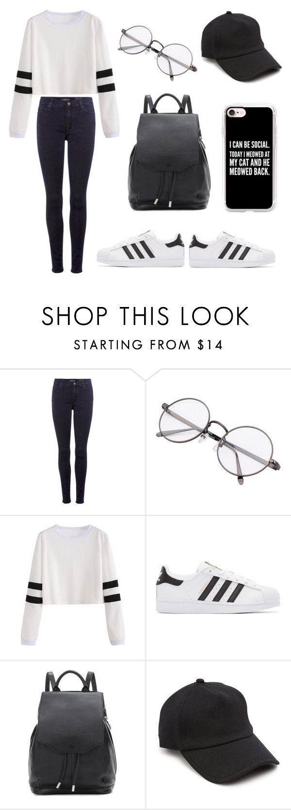 Casual Black and White by jungkookiez on Polyvore featuring 7 For All Mankind, adidas Originals, rag & bone and Casetify