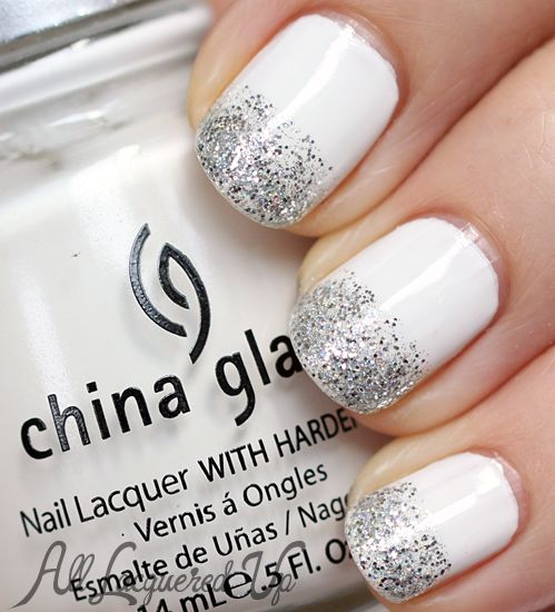 Glitter Tipped White Nails with China Glaze Snow & Sparitual Illumination