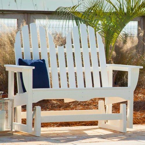 polywood classic adirondack 2 person porch swing glider adgl1 - Porch Gliders