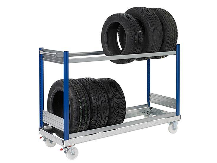 Buy 2 shelf tyre trolleys free delivery tire car