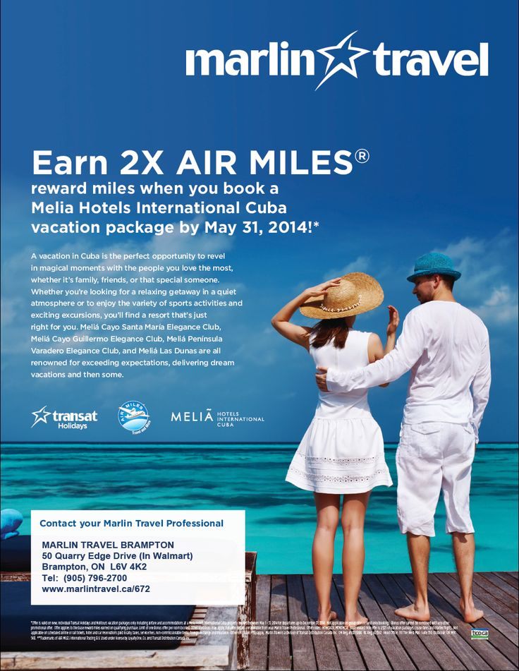 EARN 2X AIR MILES Reward Miles when you book a SOL MELIA CUBA Vacation Package with Marlin Travel before May 31st, 2014!  Call 905-796-2700 for full details and to book today!