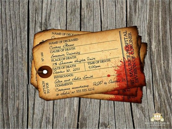 halloween party invitation ideas coroner tag for murder mystery - Halloween Name Ideas