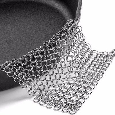 Chainmail Cast Iron Cleaner | Stainless Steel Pan Scrubber | Preserve Seasoning on Lodge, Le Creuset, Cuisinart, CI Chef Cookware, Skillet, Casserole Dish | Clean Camping, Grill, Backpacking Cookset >>> Remarkable product available now. : Camping equipment