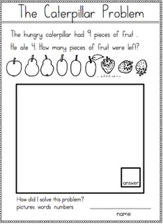 Here are several forms for caterpillar story problems. Use after reading Eric Carle's book THE VERY HUNGRY CATERPILLAR.