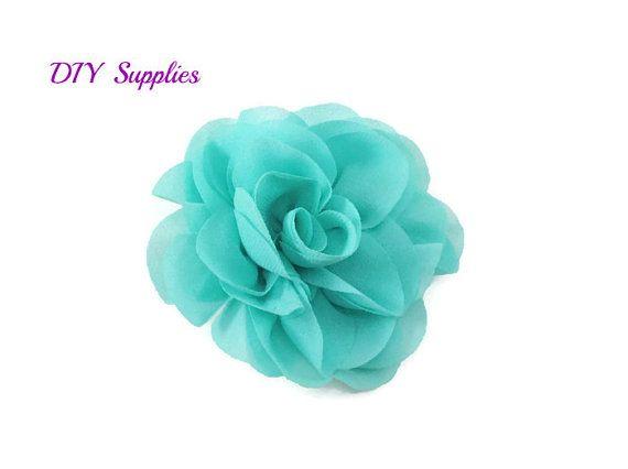 "3"" Aqua green silk rose fabric flower - Rosette silk flower for headbands - Wedding hair clip flower - Wholesale chiffon flowers"