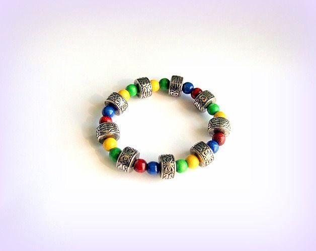 Bracelet ethnique élastique perle bois et argent vieilli fait main unique créateur : Bracelet par c-comme-celine