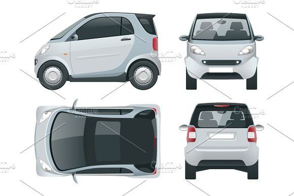 Vector compact small car. Small Compact Hybrid Vehicle. Eco-friendly hi-tech auto. Easy colour change. Template vector isolated on white View front, rear, side, top. Mockup