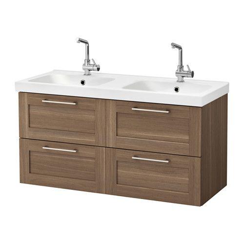 GODMORGON / ODENSVIK Meuble lavabo 4tir - motif noyer - IKEA