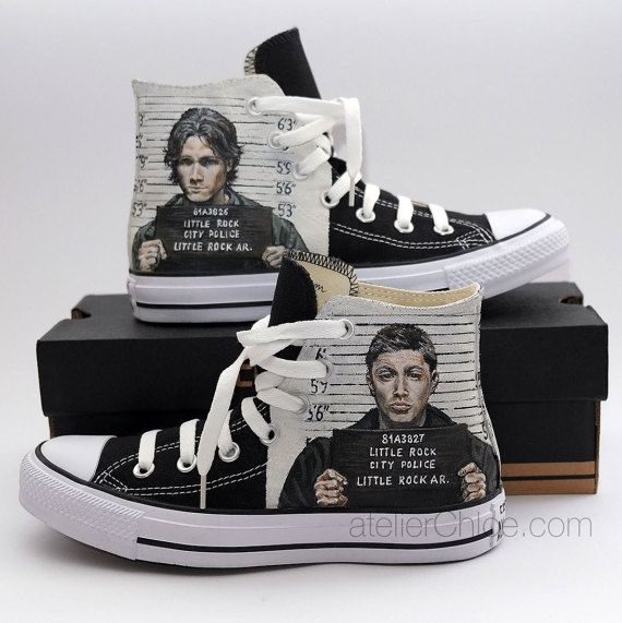 Black Converse Hand Painted Sneakers Custom Fanart by atelierChloe