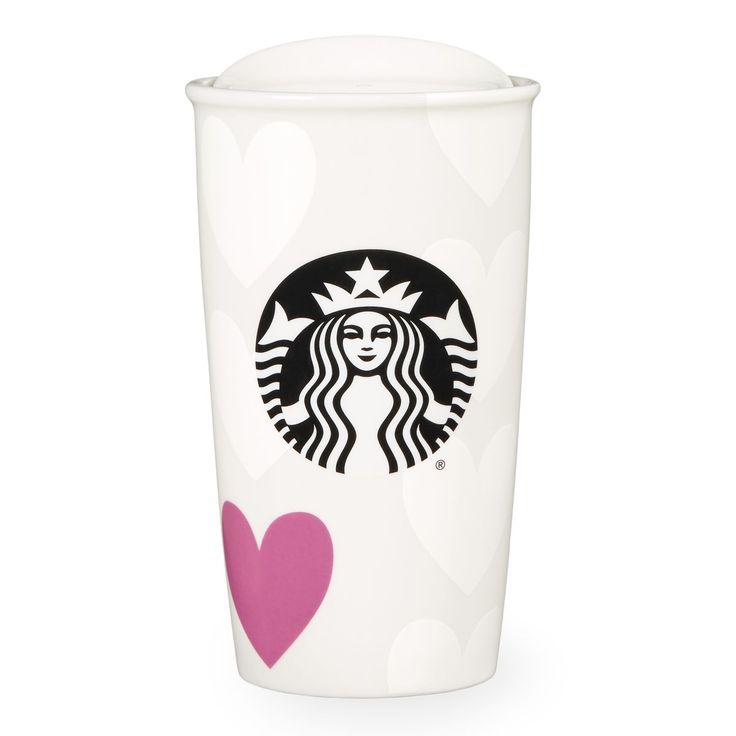 A ceramic double-walled travel mug featuring a heart pattern and Siren logo. Part of the Valentine's Day Collection.