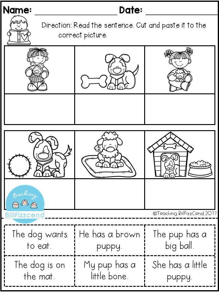 Early reading comprehension worksheets